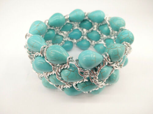 Chunky Popular Beaded Silver Braid Stretch Turquoise Stone Natural Bead Bracelet