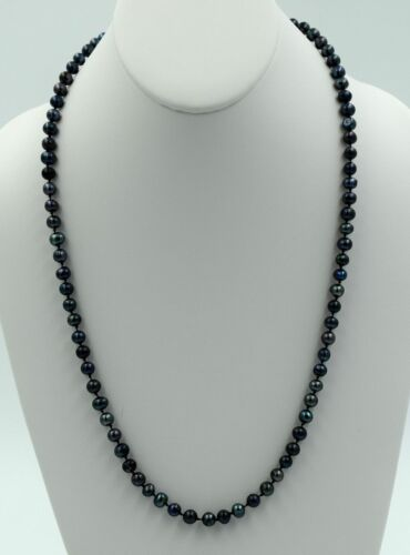 """Genuine Natural Peacock Black Freshwater Cultured 5-6mm Pearl Necklace 24/"""""""