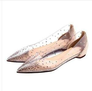 Chic-Womens-Transparent-rhinestone-pointed-toe-flat-grace-casual-slip-on-shoes