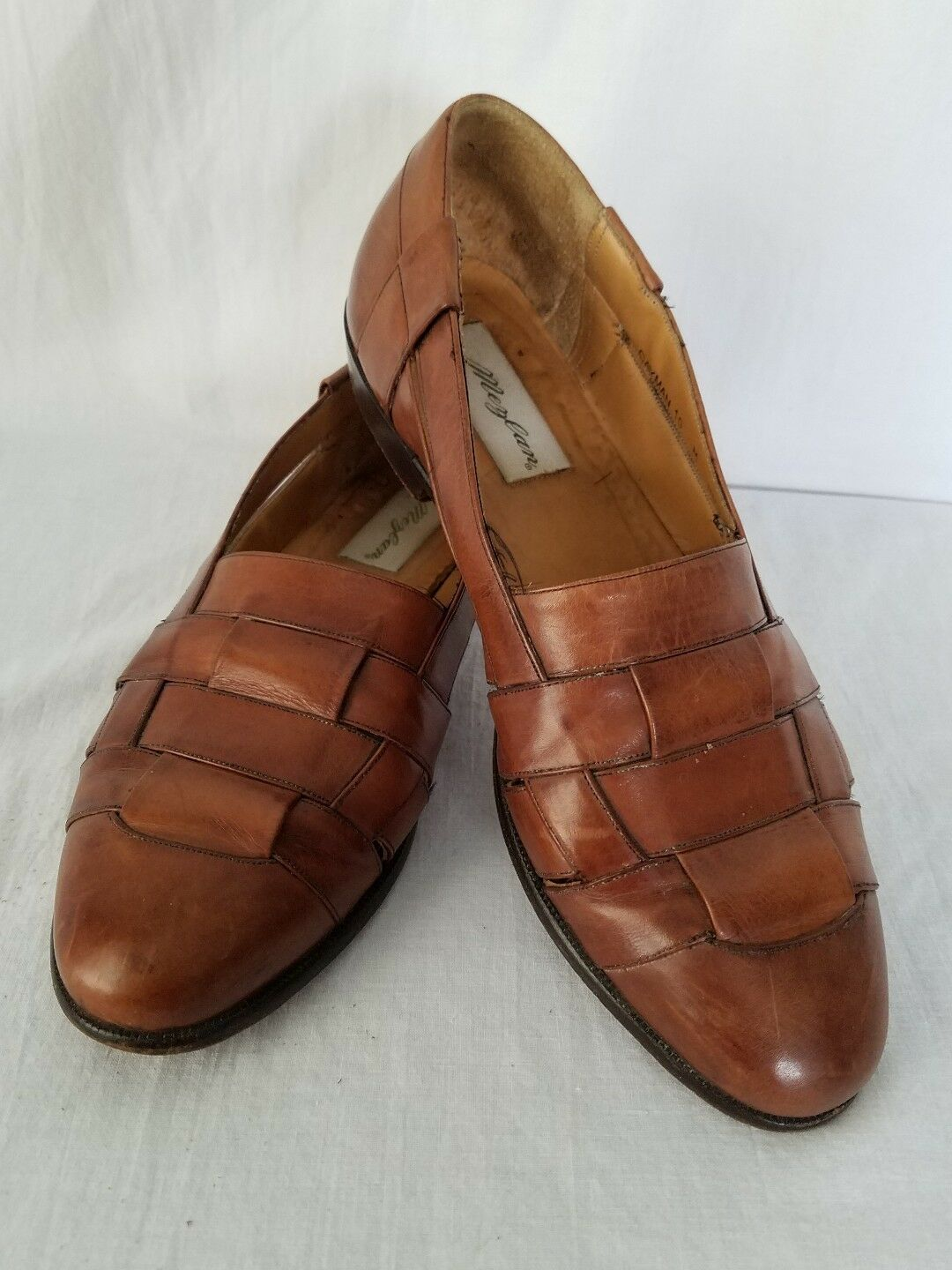 Mezlan Cayman Brown Leather Weave Loafer Made In Spain Mens Size 10 M