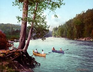 1902-Canoeing-Adirondack-Mountains-NY-Vintage-Photograph-8-5-034-x-11-034-Reprint