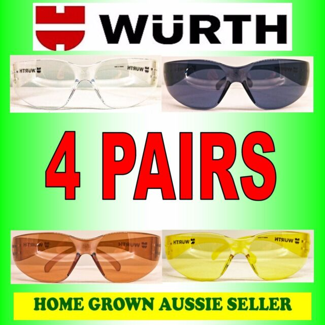 WURTH SAFETY GLASSES ALL-ROUNDER 4 PACK – CLEAR, TINTED, AMBER, COPPER