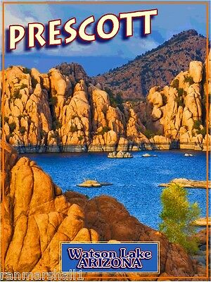 Prescott Watson Lake Arizona United States Original Travel  Poster by ShaynaMar