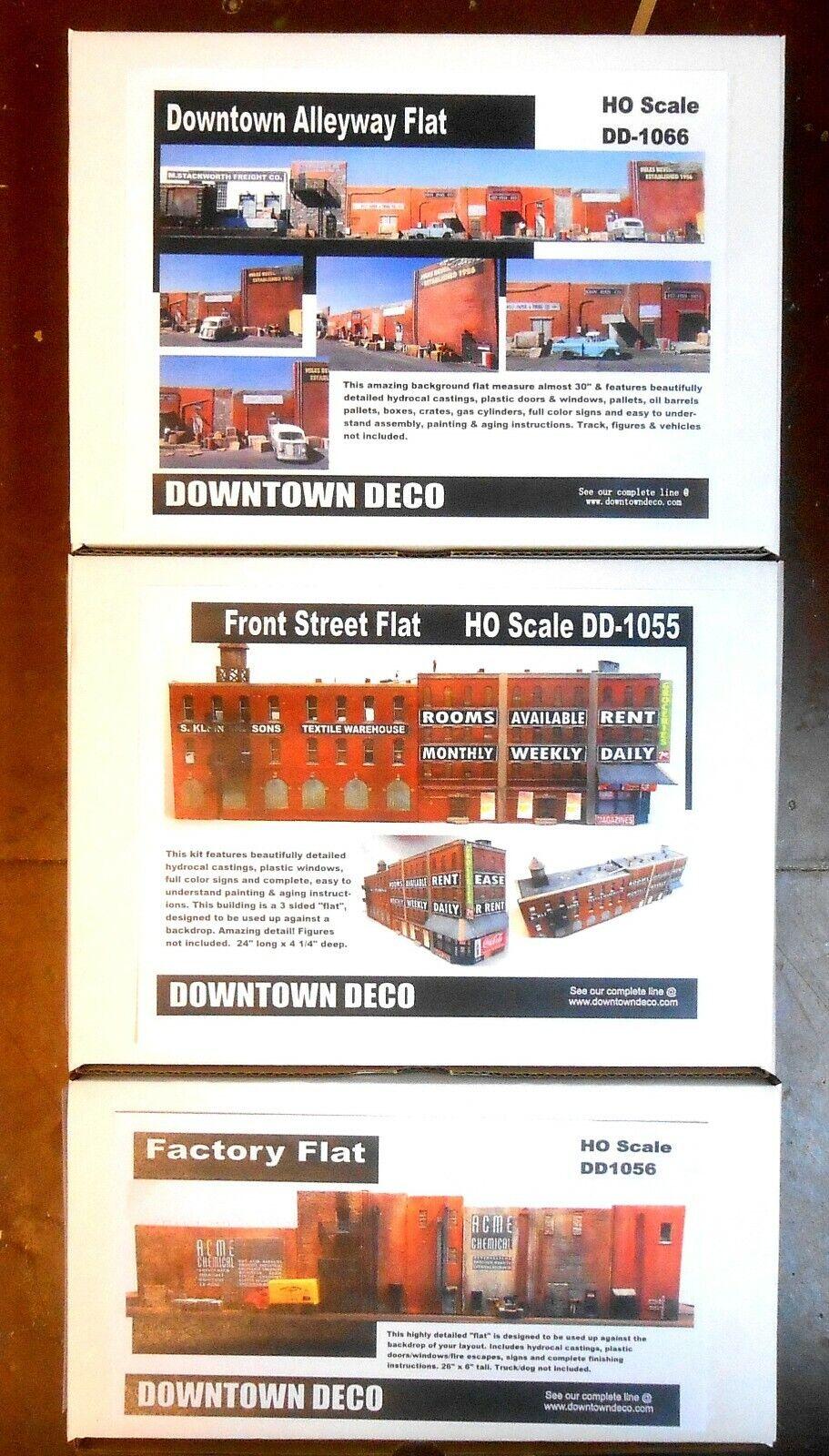 3 differenti DOWNTOWN Deco Kit di costruzione Scala HO SFONDO appartamenti  set dettaglio NC