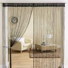Classic String Tassle Fringe Panel Divider Window Door Curtain 90x200cm BLACK