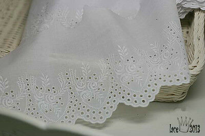 """Broderie Anglaise Eyelet lace trim 5.5""""(14cm) white YH1318 laceking2013"""