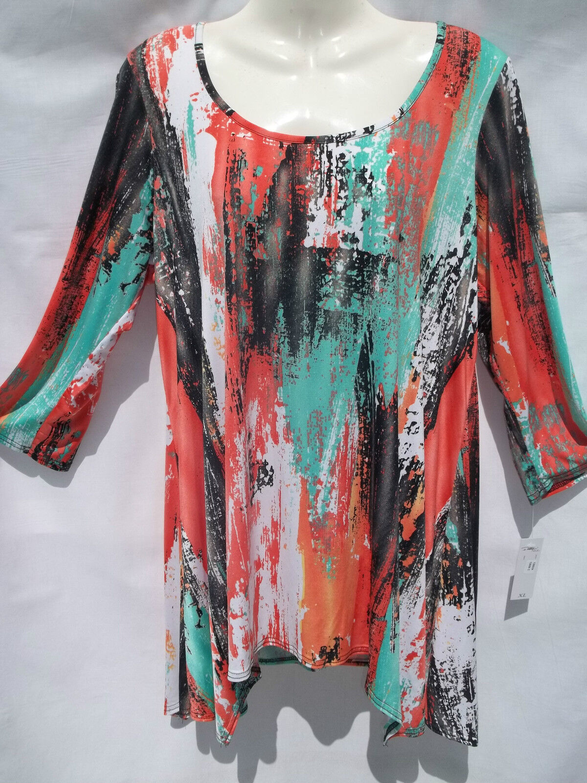 FASHQUE TRAVEL KNIT LONG TOP POINTED SIDES      XLRG    CORAL MULTI