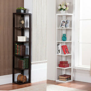 Image Is Loading 5 Tier Bookcase Wall Corner Bookshelf Storage Rack