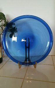 1-VINTAGE-COBALT-BLUE-GLASS-HAND-BLOWN-10-1-4-034-PLATTER-EACH-IS-UNIQUE-I6C