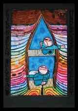 Hundertwasser Tender Dinghi Poster Bild Kunstdruck im Alu Rahmen schwarz 59x84cm
