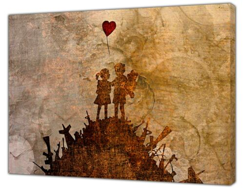 Banksy Kids On Guns Hill Reprint on Framed Canvas Wall Art Home Decoration