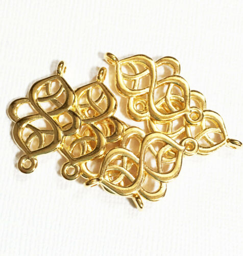 6 pcs of gold swirl connector 28x18mm gold connector links