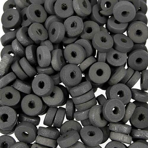 en bois rond disque donut Spacer Perles 10 mm gris foncé W57 200 30 G