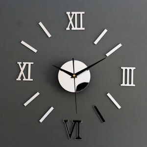 DIY Mirror 3D Roman Numbers Wall Clock Decal Home Decor Mural Stickers
