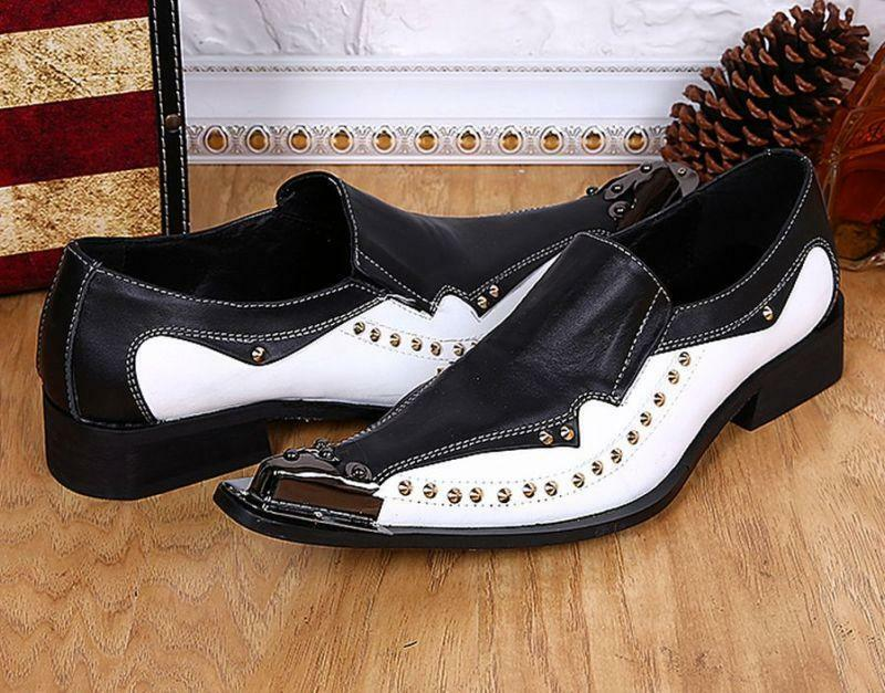 New Uomo Metal Pointed Toe Mixed Color Rivets Formal Genuine Pelle Dress Scarpe