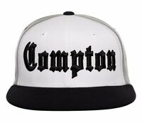White Gray Black Compton Embroidered Hip Hop Flat Bill Snapback Snap Cap Hat