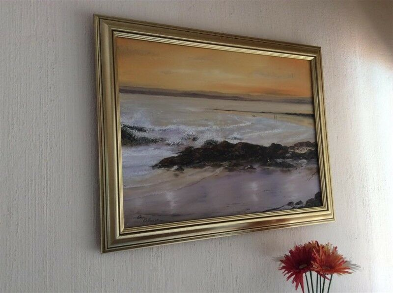 "Original Gavin Collins Oil Painting titled ""Couple Walking on Beach at Sunset"""