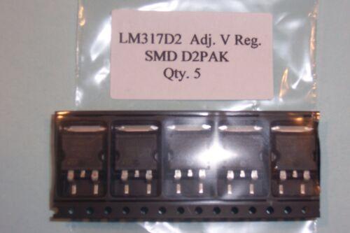 LM317D2T  LM317 SMD  D2PAK  1.25-37V  1A Voltage regulators Qty 5 New parts