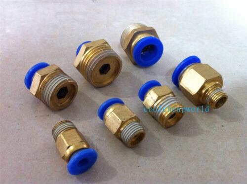 """20pcs Pneumatic 8mm-1//8/"""" BSPT Threaded Male Connectors"""
