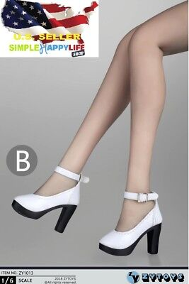 "1//6 Scale Boots WHITE For 12/"" TBLeague Hot Toys PHICEN Female Figure ❶USA❶"