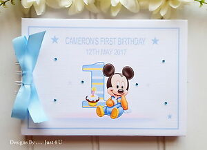 Image Is Loading PERSONALISED BABY MICKEY MOUSE MEMORY SCRAPBOOK ALBUM 1ST
