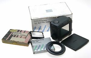 MAMIYA-M645-SUPER-120-ROLL-FILM-HOLDER-CAMERA-SCREEN-REVERSE-RING-RS-58-IN-BOX