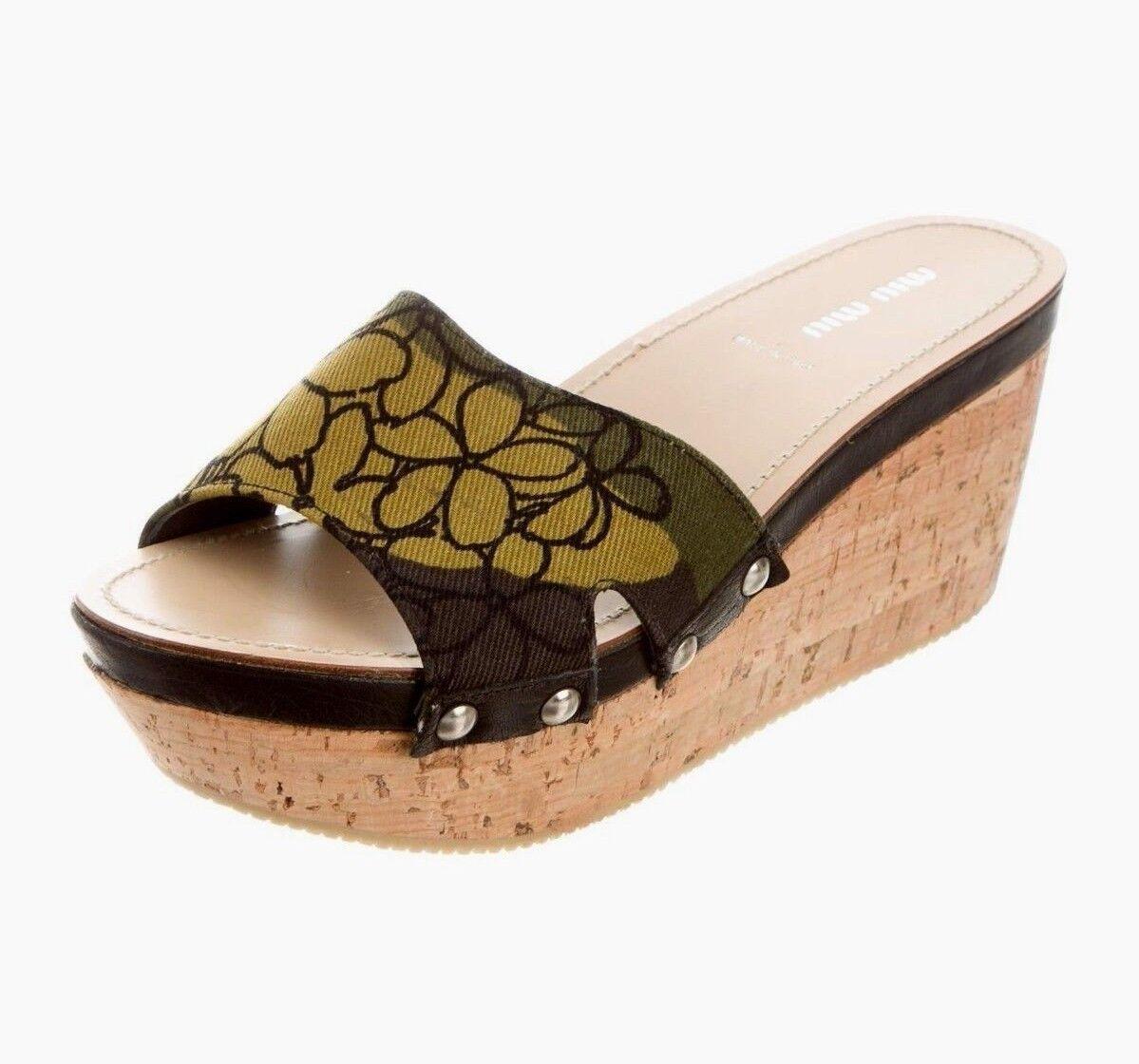 MIU MIU Canvas Multi Olive Green Miu Printed Platform Wedges Slides Sandals 38 8