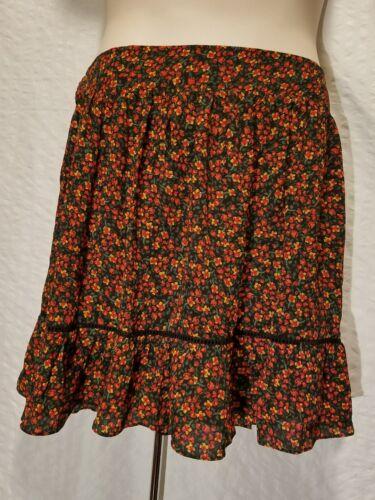 CITY CHIC Plus Size S XXL Pleated A-line Skirt Black Floral Print Elastic Waist