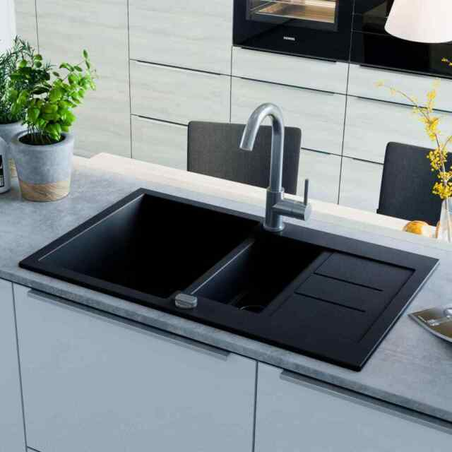 Lavelli Cucina In Granito.Vidaxl Lavello Da Cucina In Granito Vasca Doppia Nero 142950