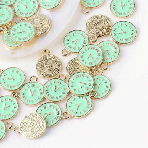5 Clock Charms Gold Plated Turquoise Blue Enamel Alice