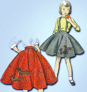 Details About 1950s Vintage Simplicity Sewing Pattern 3987 Uncut Easy Girls Poodle Skirt Sz 12