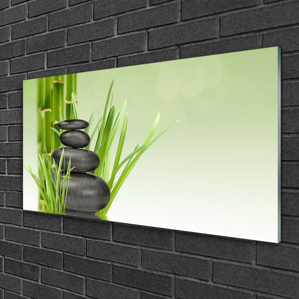 Print on Glass Wall art 100x50 Picture Image Bamboo Grasses Floral