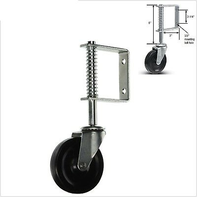 "3/"" Gate Wheel Cast Zinc Plated 225LB Swivel Spring Bracket Shock ChainLink Fence"