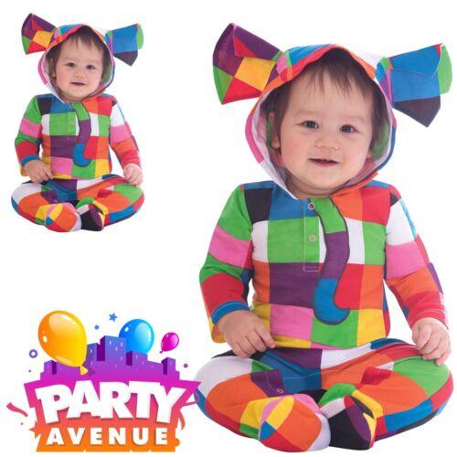 Official Elmer Hooded Jumpsuit Baby Toddler Fancy Dress Costume