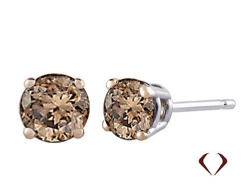 0.53 Ct Brown Diamond Boucles d/'oreilles si en 14K or Blanc