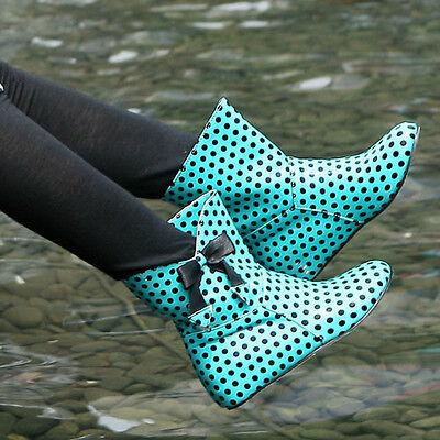 Womens Boots Winter Rain Polka Dot Cute  Casual Shoes Bowknot Summer Shoes C6