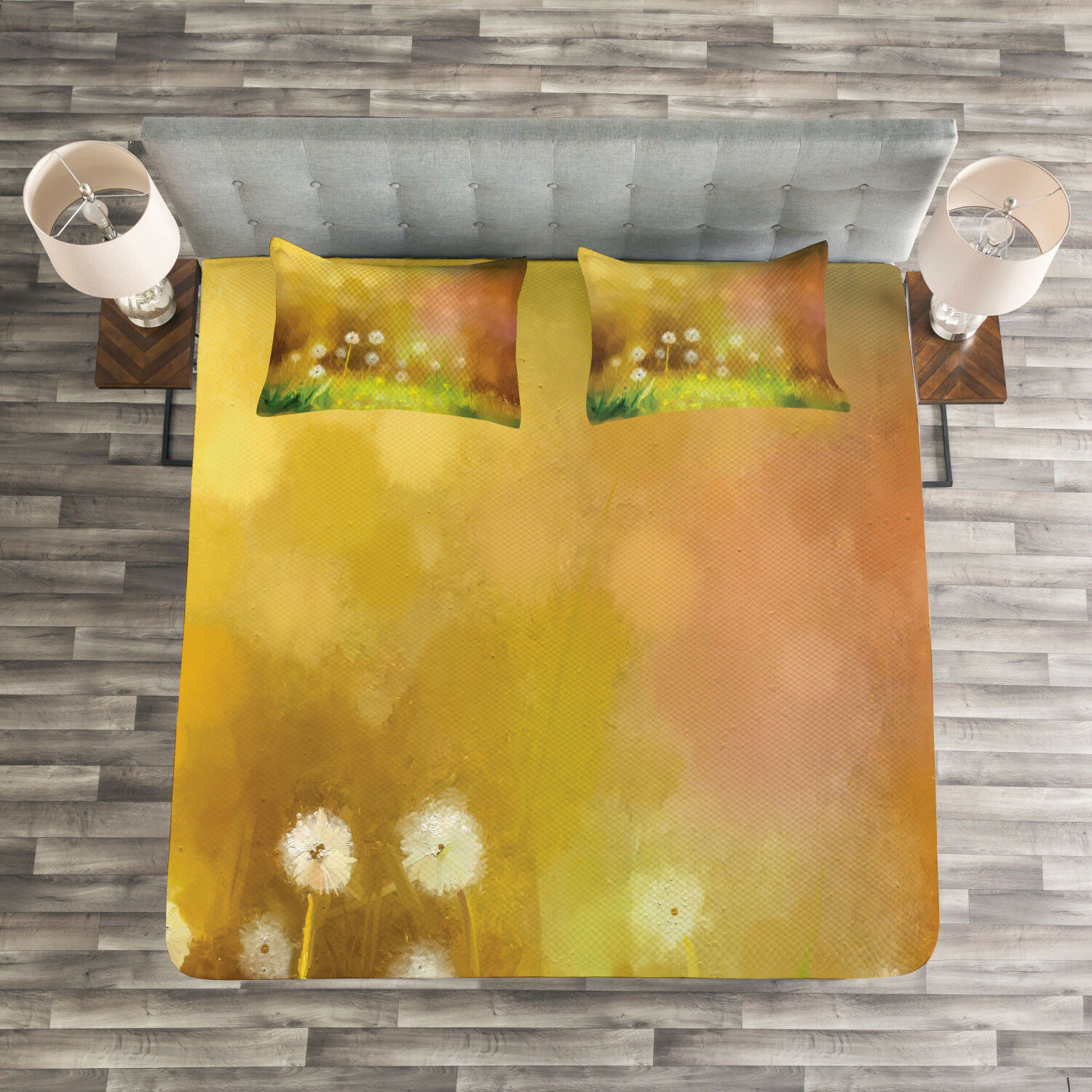 Nature Quilted Bedspread & Pillow Shams Set, Oil Painting Effect Art Print