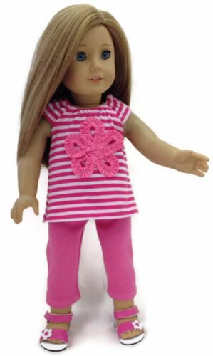 "Striped Top /& Pink Leggings Pant Set fits 18/"" American Girl Doll Clothes"