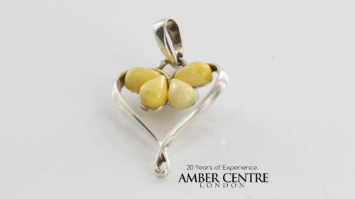 Butterscotch German BALTIC AMBER /& 925 SILVER HEART PENDANT-PE0109 RRP£50!!!