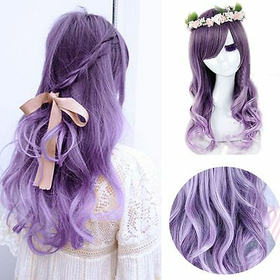 Fashion Long Purple Mixed LOLITA Full Wigs Curly Wavy Hair Cosplay Costume Anime