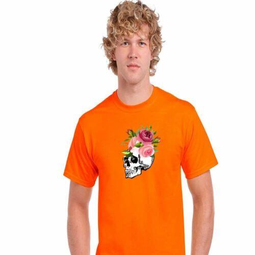 Halloween Homme Garçons Crâne Roses Effrayant Imprimé T Shirt Creepy Boo Drôle Gym Tee