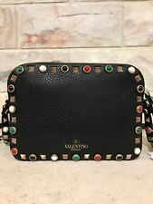 NWT Valentino Rockstud Native Rolling Black Beaded Leather Camera Crossbody Bag