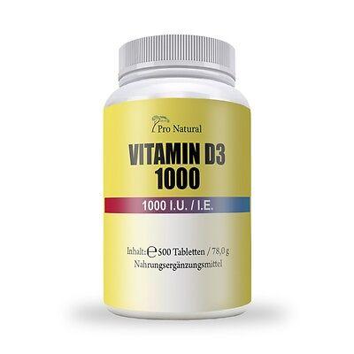 Sonnenschein Vitamin D-3 - 500 Tabletten á 1000 IU - D3 VitaminD3 Hochdosiert