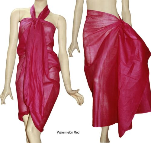 100/% COTTON Beach Scarf Pareo Wrap Cover Up Swimwear Plain Solid Tomato Red