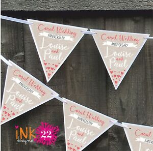 Personalised Coral 35th Wedding Anniversary Party Decoration Banner