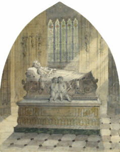 Ellis-Tomb-Effigy-with-Cherubs-Original-late-19th-century-watercolour-painting