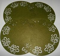 Fall Placemats 15 Dia. Set Of 4 Green Fall Leaves