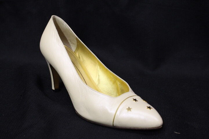 Vintage BRUNO MAGLI Ivory Leather    Stars  Pumps Womens Size 8.5B -B124 141602