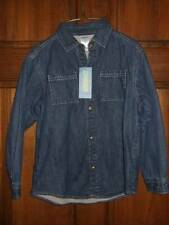 NWT GYMBOREE ~ TRACTOR COMPANY blue denim fleece lined shirt w/ snaps ~ boys 6