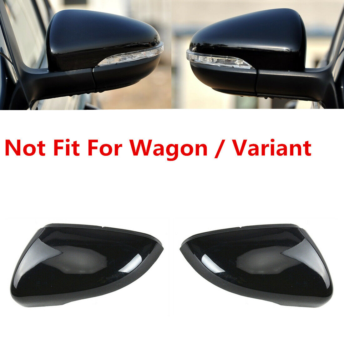 Underground Parts SK-OCT-11 Gloss Black Door Wing Mirror Covers Caps Pair Left and Right